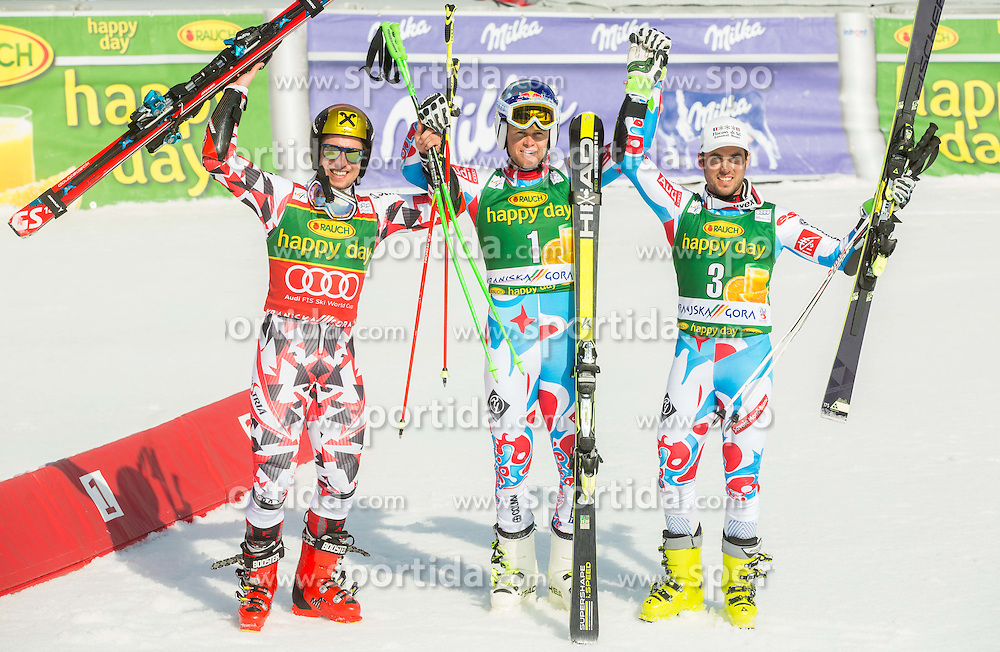 Second placed HIRSCHER Marcel of Austria, winner PINTURAULT Alexis of France and third placed FANARA Thomas of France celebrate in finish area during Men Giant Slalom race of FIS Alpine Ski World Cup 54th Vitranc Cup 2015, on March 14, 2015 in Kranjska Gora, Slovenia. Photo by Vid Ponikvar / Sportida