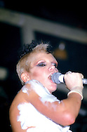 The Plasmatics.Gruppo musicale statunitense punk rock heavy metal nato a New York nel 1977 e sciolto nel 1987...Wendy O. Williams, leader of the band Plasmatics, singing during a concert at Piper of Rome 1979...
