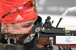 PYEONGCHANG, Feb. 10, 2018  Germany's Laura Dahlmeier shoots during the women's 7.5 km sprint biathlon event on the 2018 Pyeongchang Winter Olympic Games at Alpensia Biathlong Centre, PyeongChang, South Korea, Feb. 10, 2018. Laura won the gold medal in a time of 21:06.2. (Credit Image: © Bai Xuefei/Xinhua via ZUMA Wire)