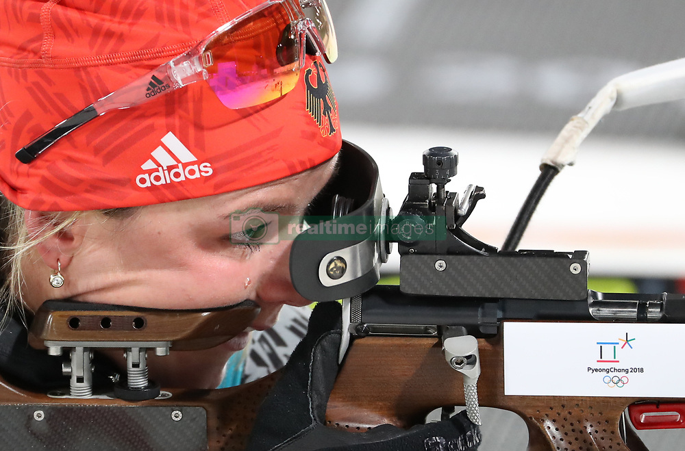 PYEONGCHANG, Feb. 10, 2018  Germany's Laura Dahlmeier shoots during the women's 7.5 km sprint biathlon event on the 2018 Pyeongchang Winter Olympic Games at Alpensia Biathlong Centre, PyeongChang, South Korea, Feb. 10, 2018. Laura won the gold medal in a time of 21:06.2. (Credit Image: © Bai Xuefei/Xinhua via ZUMA Wire)