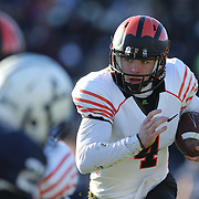 Quarterback Quinn Epperly, Princeton, in action during the Yale Vs Princeton, Ivy League College Football match at Yale Bowl, New Haven, Connecticut, USA. 15th November 2014. Photo Tim Clayton