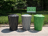 The new recycling bins and trash cans.