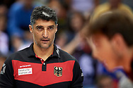 Poland, Krakow - 2017 September 03: Trainer coach Andrea Giani from Germany looks forward while final match between Germany and Russia  during Lotto Eurovolleyball Poland 2017 - European Championships in volleyball at Tauron Arena on September 03, 2017 in Krakow, Poland.<br /> <br /> Mandatory credit:<br /> Photo by © Adam Nurkiewicz<br /> <br /> Adam Nurkiewicz declares that he has no rights to the image of people at the photographs of his authorship.<br /> <br /> Picture also available in RAW (NEF) or TIFF format on special request.<br /> <br /> Any editorial, commercial or promotional use requires written permission from the author of image.