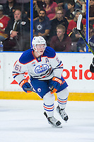 PENTICTON, CANADA - SEPTEMBER 17: Braden Christoffer #61 of Edmonton Oilers skates against the Calgary Flames on September 17, 2016 at the South Okanagan Event Centre in Penticton, British Columbia, Canada.  (Photo by Marissa Baecker/Shoot the Breeze)  *** Local Caption *** Braden Christoffer;