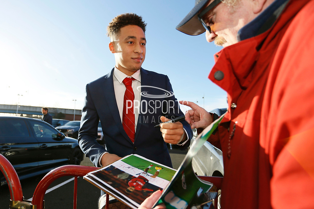 Middlesbrough midfielder Marcus Tavernier (28)  signing autographs during the EFL Sky Bet Championship match between Middlesbrough and Ipswich Town at the Riverside Stadium, Middlesbrough, England on 29 December 2018.