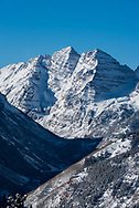 The Maroon Bells as viewed from the top of Aspen Highlands in Aspen, Colorado.