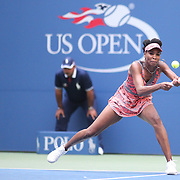 2017 U.S. Open - August 28.  DAY ONE. Venus Williams of the United States in action against Viktoria Kuzmova of Slovakia on Arthur Ashe Stadium during the Women's Singles round one match at the US Open Tennis Tournament at the USTA Billie Jean King National Tennis Center on August 28, 2017 in Flushing, Queens, New York City.  (Photo by Tim Clayton/Corbis via Getty Images)