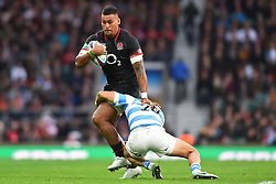 November 11, 2017 - London, England, United Kingdom - England's Nathan Hughes is tackled by Argentina's Juan Martin Hernandez during Old Mutual Wealth Series between England against Argentina at Twickenham stadium , London on 11 Nov 2017  (Credit Image: © Kieran Galvin/NurPhoto via ZUMA Press)