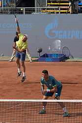 BUDAPEST, April 30, 2018  Dominic Inglot (L) of Britain and Franko Skugor of Croatia compete against Matwe Middelkoop of the Netherlands and Andres Molteni of Argentina during the men's doubles final at the Hungarian Open ATP tournament in Budapest, Hungary on April 29, 2018. Inglot and Skugor won 2-1 and claimed the title. (Credit Image: © Attila  Volgyi/Xinhua via ZUMA Wire)