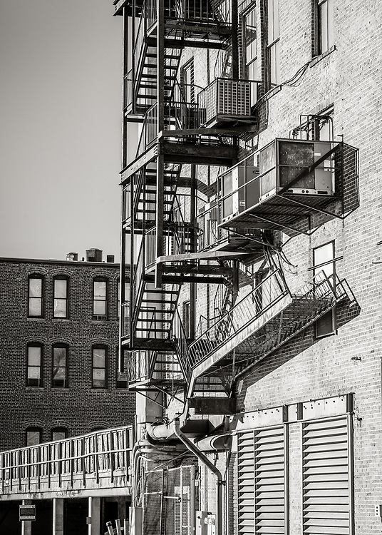 Interesting shapes, lines and textures in this street scene from Washington St. in downtown Greensboro, North Carolina