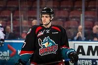 KELOWNA, CANADA - DECEMBER 5: Libor Zabransky #7 of the Kelowna Rockets warms up against the Tri-City Americans on December 5, 2018 at Prospera Place in Kelowna, British Columbia, Canada.  (Photo by Marissa Baecker/Shoot the Breeze)