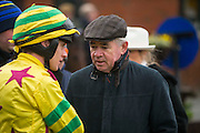 """Fairyhouse Racing, 1st January 2016<br /> Edward Cawley pictured talking to """"Arise and go Now"""" jockey - Chris Timmons before the start of the """"Clubs fundraiser Handicap Hurdle"""" at Fairyhouse<br /> Photo: David Mullen /www.cyberimages.net / 2016"""