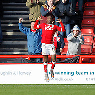 Kieran Agard celebrates the first goal for Bristol City against Hull City during the Sky Bet Championship match at Ashton Gate, Bristol<br /> Picture by Mike Griffiths/Focus Images Ltd +44 7766 223933<br /> 21/11/2015
