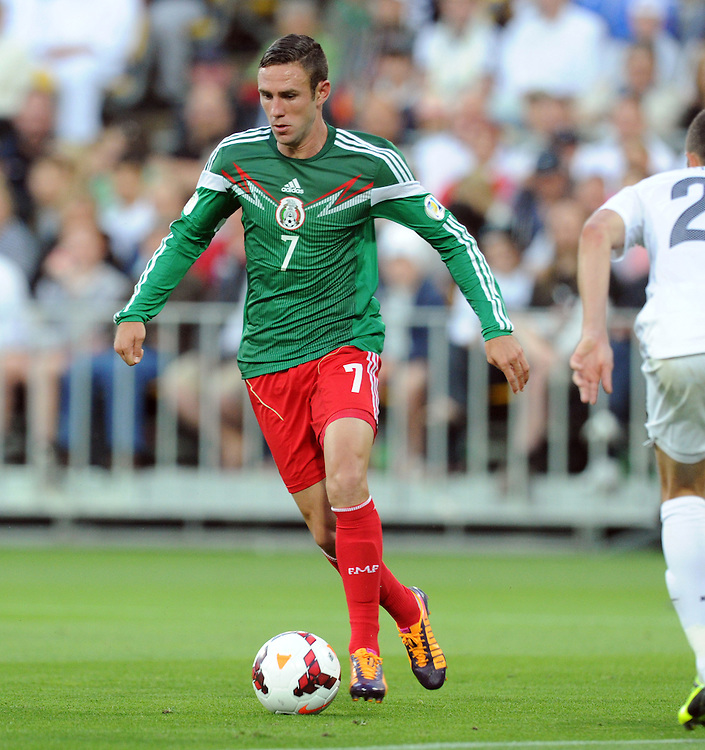 Mexico's Miguel Layun against New Zealand in the World Cup Football qualifier, Westpac Stadium, Wellington, New Zealand, Wednesday, November 20, 2013. ( Credit:SNPA / Ross Setford