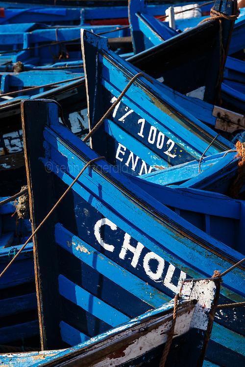 Fishing boats in harbor, Essaouira, Morocco.
