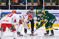 2019-12-14 | Umeå, Sweden: Referee drops the puck in HockeyAllsvenskan during the game  between Björklöven and Almtuna at A3 Arena ( Photo by: Michael Lundström | Swe Press Photo )<br /> <br /> Keywords: Umeå, Hockey, HockeyAllsvenskan, A3 Arena, Björklöven, Almtuna, mlba191214