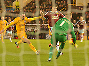 Burnley Forward, Sam Vokes tries to break through on goal during the Sky Bet Championship match between Burnley and Preston North End at Turf Moor, Burnley, England on 5 December 2015. Photo by Mark Pollitt.