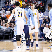 22 November 2016: Denver Nuggets guard Jamal Murray (27) is congratulated by Denver Nuggets forward Kenneth Faried (35) during the Denver Nuggets 110-107 victory over the Chicago Bulls, at the Pepsi Center, Denver, Colorado, USA.