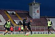 BOEKAREST - 19-08-15, Europa League, Astra GiurGiu - AZ, training, Stadionul Giulesti, AZ speler Muamer Tankovic (l), AZ speler Dabney dos Santos Souza (2vr), AZ speler Achille Vaarnold (2vl).