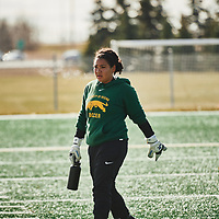 3rd year goalkeeper, Savannah Williams (30) of the Regina Cougars during the Women's Soccer home game on Sun Oct 14 at U of R Field. Credit: Arthur Ward/Arthur Images