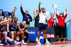 Panos Mayindombe of Bristol Flyers celebrates - Rogan/JMP - 11/10/2019 - BASKETBALL - SGS Wise Arena - Bristol, England - Bristol Flyers v Plymouth Raiders - BBL Cup.