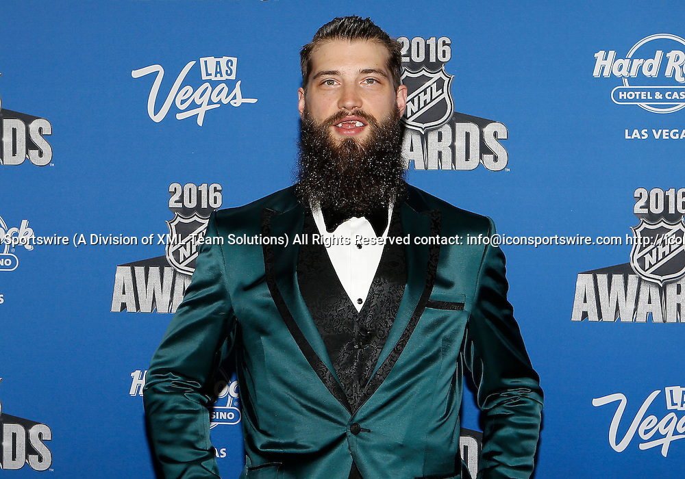 2016 June 22: San Jose Sharks defenceman Brent Burns poses for a photograph on the red carpet during the 2016 NHL Awards at the Hard Rock Hotel and Casino in Las Vegas, Nevada. (Photo by Marc Sanchez/Icon Sportswire)