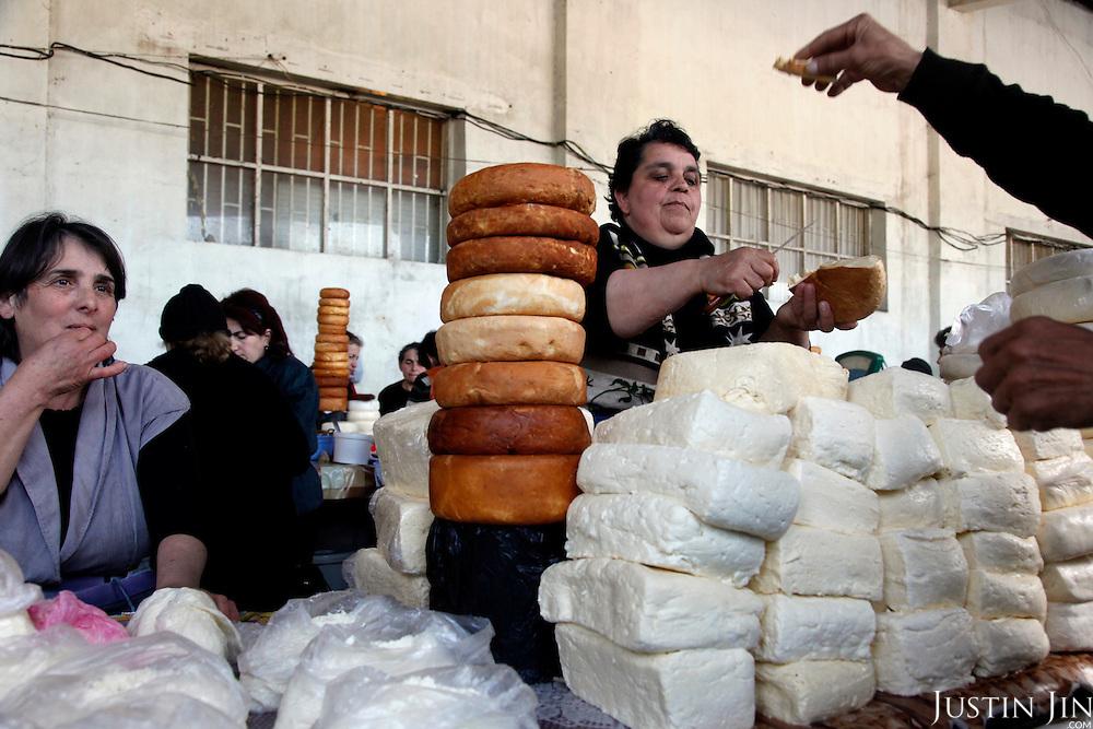 At a cheese market in Zugdidi, western Georgia.