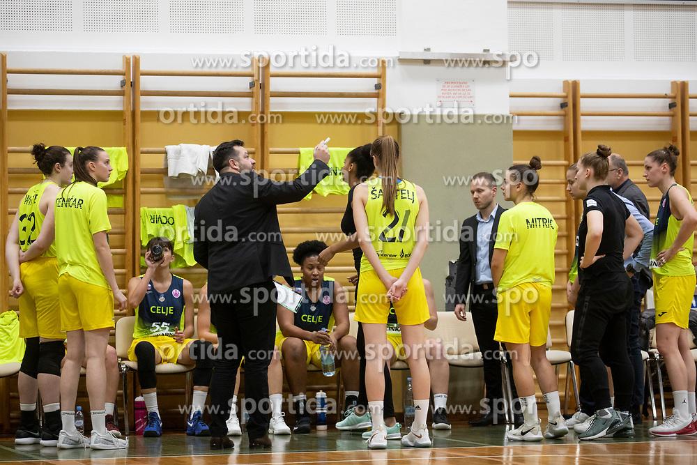 Team ZKK Cinkarna Celje in action during basketball match between ZKK Cinkarna Celje (SLO) and MBK Ruzomberok (SVK) in Round #6 of Women EuroCup 2018/19, on December 13, 2018 in Gimnazija Celje Center, Celje, Slovenia. Photo by Urban Urbanc / Sportida