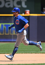 June 13, 2018 - Milwaukee, WI, U.S. - MILWAUKEE, WI - JUNE 13: Chicago Cubs Outfield Kyle Schwarber (12) runs to 3rd during a MLB game between the Milwaukee Brewers and Chicago Cubs on June 13, 2018 at Miller Park in Milwaukee, WI. The Brewers defeated the Cubs 1-0.(Photo by Nick Wosika/Icon Sportswire) (Credit Image: © Nick Wosika/Icon SMI via ZUMA Press)