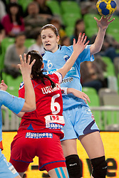 Ana Gros of Slovenia and Luzumova of Czech Republic during handball match between Women National Teams of Slovenia and Czech Republic of 4th Round of EURO 2012 Qualifications, on March 25, 2012, in Arena Stozice, Ljubljana, Slovenia. (Photo by Urban Urbanc / Sportida.com)