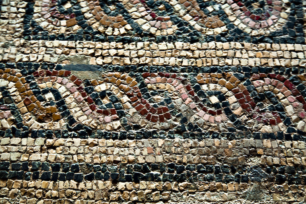 Ancient Roman mosaic wave design, found in Merida, Spain.