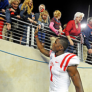 Mississippi wide receiver Laquon Treadwell (1) celebrates with fans after an NCAA college football game against Texas A&M in College Station, Texas, Saturday, Oct. 11, 2014. No. 3 Mississippi won 35-20. (Photo/Thomas Graning)