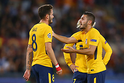 September 12, 2017 - Rome, Italy - Koke of Atletico talking with Saul Niguez of Atletico  during the UEFA Champions League Group C football match between AS Roma and Atletico Madrid on September 12, 2017 at the Olympic stadium in Rome. (Credit Image: © Matteo Ciambelli/NurPhoto via ZUMA Press)