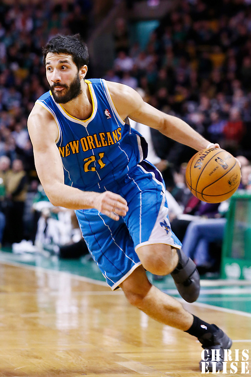 16 January 2013: New Orleans Hornets point guard Greivis Vasquez (21) drives to the basket during the New Orleans Hornets 90-78 victory over the Boston Celtics at the TD Garden, Boston, Massachusetts, USA.