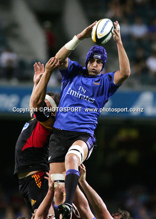 The forces captain Nathan Sharpe wins a lineout during the 2006 Super 14 rugby union match between the Western Force and the Chiefs at Subiaco Oval, Perth, Western Australia, on Friday 24 February, 2006. Final score was Force - 9, Chiefs - 26.  Photo: Christian Sprogoe/PHOTOSPORT