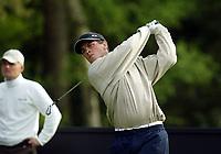 Photograph: Scott Heavey<br />Volvo PGA Championship At Wentworth Club. 23/05/2003.<br />Henrik Bjørnstad fires off of the 15th.