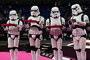 Podium ceremony with medals presented by Boogie Storm Star Wars storm troopers  during the iPro Sport World Cup of Gymnastics 2017 at the O2 Arena, London, United Kingdom on 8 April 2017. Photo by Martin Cole.