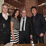 (l-r) Wesley Stace, Maria Venegas, Salman Rushdie, Joshua Bell at the 'Still Waters in a Storm' benefit at The City Winery NYC. <br /> <br /> Still Waters in a Storm is a free school for children in the neighborhood of Bushwick, Brooklyn.Volunteers offer homework help and classes in reading, writing, violin, music composition, yoga and Latin, all free of charge to low-income families in the neighborhood.