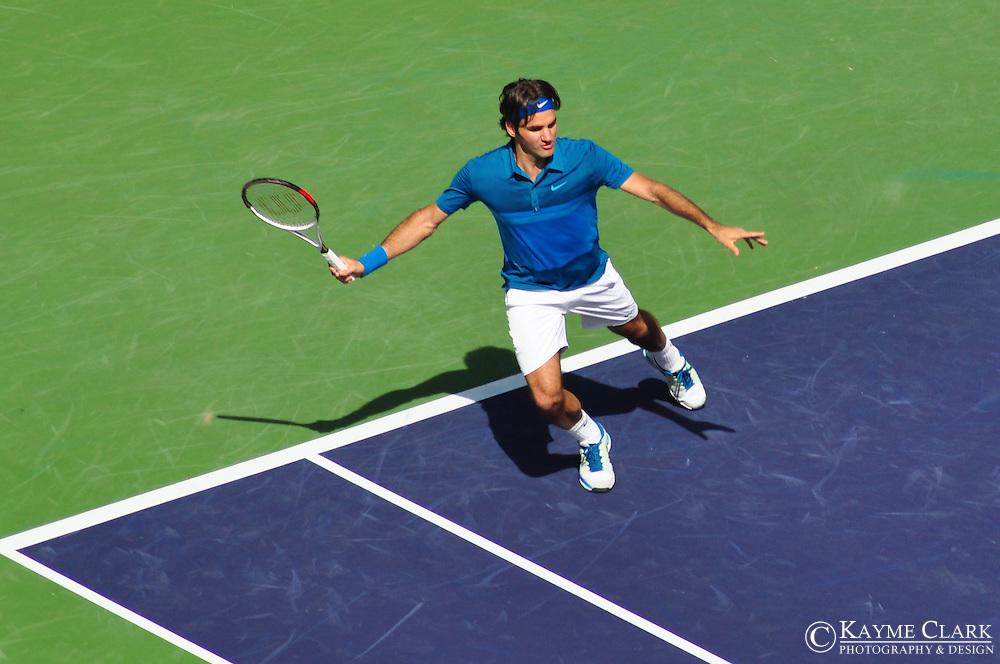 Roger Federer versus Juan Martin Del Potro at the BNP Paribas Open in Indian Wells, California.