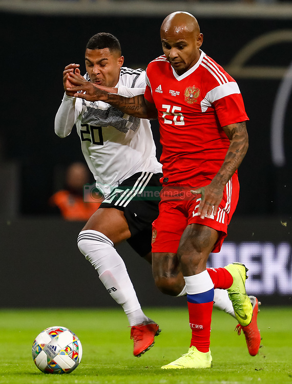 November 15, 2018 - Leipzig, Germany - Serge Gnabry (L) of Germany and Ari of Russia vie for the ball during the international friendly match between Germany and Russia on November 15, 2018 at Red Bull Arena in Leipzig, Germany. (Credit Image: © Mike Kireev/NurPhoto via ZUMA Press)