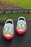 Symbolic painted wooden shoe, Keukenhof Gardens, Lisse, Netherlands
