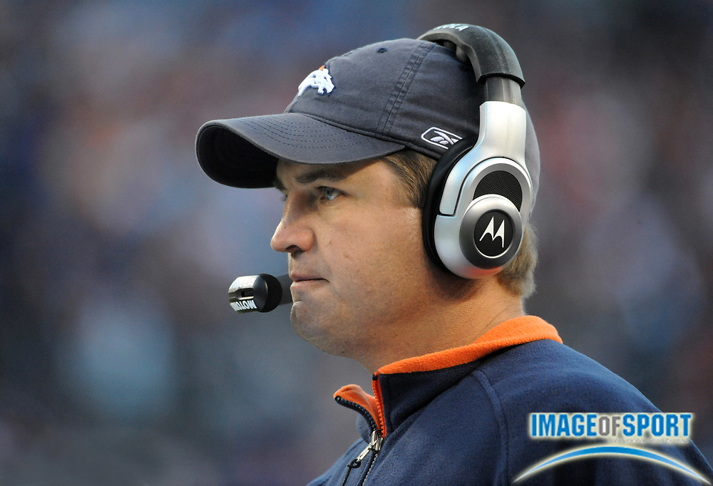 Nov 23, 2008; Denver, CO, USA; Denver Broncos quarterbacks coach Jeremy Bates watches from the sidelines during the game against the Oakland Raiders at Invesco Field. The Raiders defeated the Broncos 31-10.