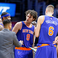 11 March 2016: New York Knicks center Robin Lopez (8) is seen next to New York Knicks forward Carmelo Anthony (7) and New York Knicks center Robin Lopez (8) during the LA Clippers 101-94 victory over the New York Knicks, at the Staples Center, Los Angeles, California, USA.