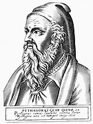 Pythagoras (c560-c480 BC) Ancient Greek philosopher and scientist. Engraving.