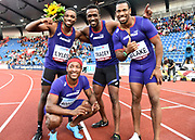 Members of the America's 4 x 100m relay team Michael Rodgers aka Mike Rodgers (USA), Noah Lyles (USA), Tyquendo Tracey (JAM) and Yohan Blake (JAM) pose after winning in 38.05 during the IAAF Continental Cup 2018 at Mestkey Stadion in Ostrava, Czech Republic, Saturday, Sept. 8, 2018. (Jiro Mochizuki/Image of Sport)