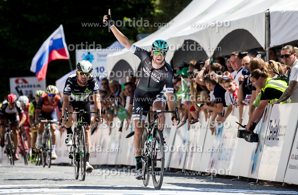 Dejected Mark Cavendish (GB) of Team Dimension Data and Winner Sam Bennett (ITA) of Bora - Hansgrohe during last Stage 4 of 24th Tour of Slovenia 2017 / Tour de Slovenie from Rogaska Slatina to Novo mesto (158,2 km) cycling race on June 18, 2017 in Slovenia. Photo by Vid Ponikvar / Sportida