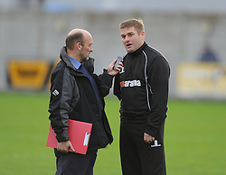 Weston Super Mare Manager, Micky Bell is interviewed after the game is called off. - Photo mandatory by-line: Alex James/JMP - Mobile: 07966 386802 - 08/11/2014 - SPORT - Football - Weston-super-Mare - Woodspring Stadium - Weston-super-Mare v Doncaster - FA Cup - Round One