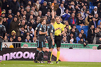 Referee show second red card to Real Sociedad's Iñigo Martinez during La Liga match between Real Madrid and Real Sociedad at Santiago Bernabeu Stadium in Madrid, Spain. January 29, 2017. (ALTERPHOTOS/BorjaB.Hojas)