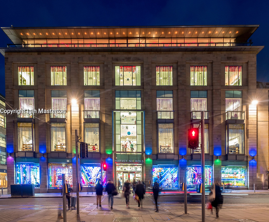 Night view of exterior of Harvey Nichols store in St Andrews Square in Edinburgh, Scotland, United Kingdom.