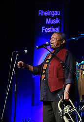 FRANKFURT, July 22, 2015  South African Jazz Musician Hugh Masekela performs at his concert during Rheingao Musik Festival at the Congress House Kap Europa in Frankfurt, Germany, on July 22, 2015. The Rheingao Music Festival is held from June 27 to Sept. 12. (Xinhua/Luo Huanhuan) (Credit Image: © Xinhua via ZUMA Wire)
